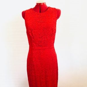 Barney's COOP Red Lace Cocktail Dress